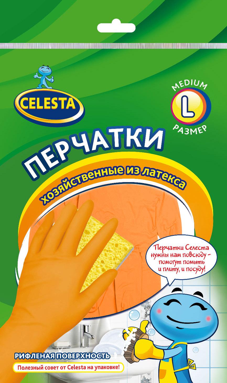 Перчатки хозяйственные Celesta, цвет: оранжевый. Размер L4193Универсальные перчатки Celesta, произведены из высококачественного латекса, рифленая поверхность позволяет удерживать мокрые предметы. Перчатки подходят для различных видов домашних работ. Перчатки эластичны, хорошо облегают руку.