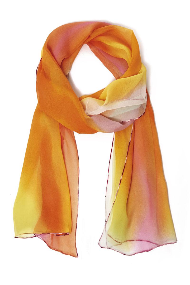 Шарф женский Moltini, цвет: желтый, оранжевый. 40019-10J. Размер 180 см х 55 см40019-10JШарф Moltini станет нарядным аксессуаром, который призван подчеркнуть вашу индивидуальность и очарование. Шарф выполнен из шелка и декорирован контрастной оторочкой по краю.Этот модный аксессуар гармонично дополнит образ современной женщины, следящей за своим имиджем и стремящейся всегда оставаться стильной и элегантной. Такой шарф украсит любой наряд, с ним вы всегда будете выглядеть изысканно и оригинально.