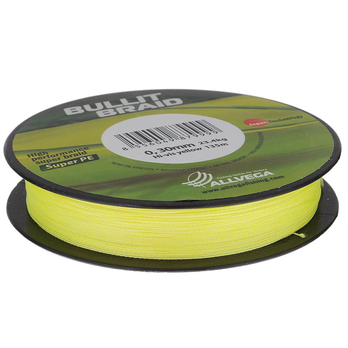 Леска плетеная Allvega Bullit Braid, цвет: ярко-желтый, 135 м, 0,3 мм, 23,4 кг леска allvega fluorocarbon hybrid цвет прозрачный 30 м 0 2 мм 4 74 кг