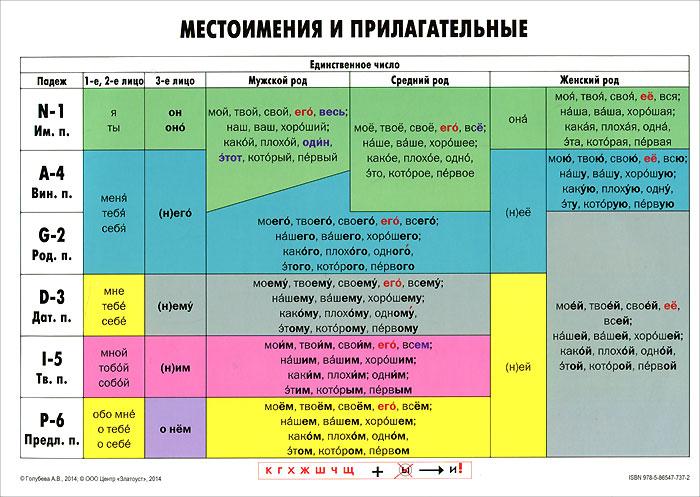А. В. Голубева Учебная грамматическая таблица. Местоимения и прилагательные косинова грамматическая тетрадь купить