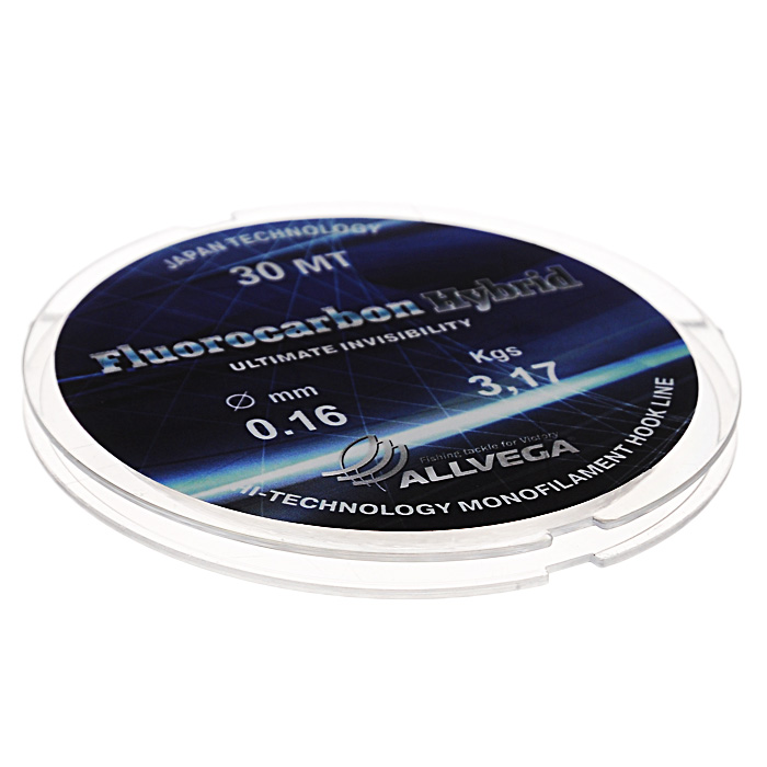 Леска Allvega Fluorocarbon Hybrid, цвет: прозрачный, 30 м, 0,16 мм, 3,17 кг
