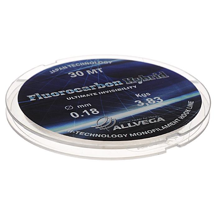Леска Allvega Fluorocarbon Hybrid, цвет: прозрачный, 30 м, 0,18 мм, 3,83 кг36176Прозрачная леска Allvega Fluorocarbon Hybrid, состоящая из 65 % флюрокарбона. Флюрокарбоновое покрытие позволяет максимально повысить характеристики, при этом цена лески остается относительно низкой.