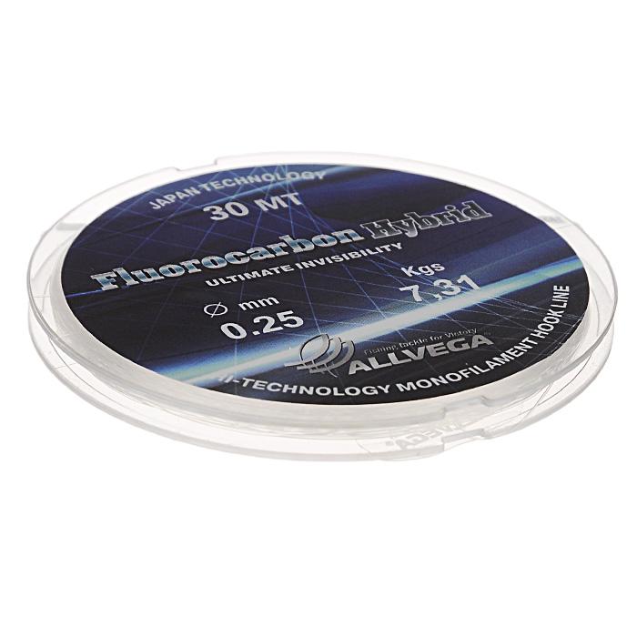 Леска Allvega Fluorocarbon Hybrid, цвет: прозрачный, 30 м, 0,25 мм, 7,31 кг36179Прозрачная леска Allvega Fluorocarbon Hybrid, состоящая из 65 % флюрокарбона. Флюрокарбоновое покрытие позволяет максимально повысить характеристики, при этом цена лески остается относительно низкой.