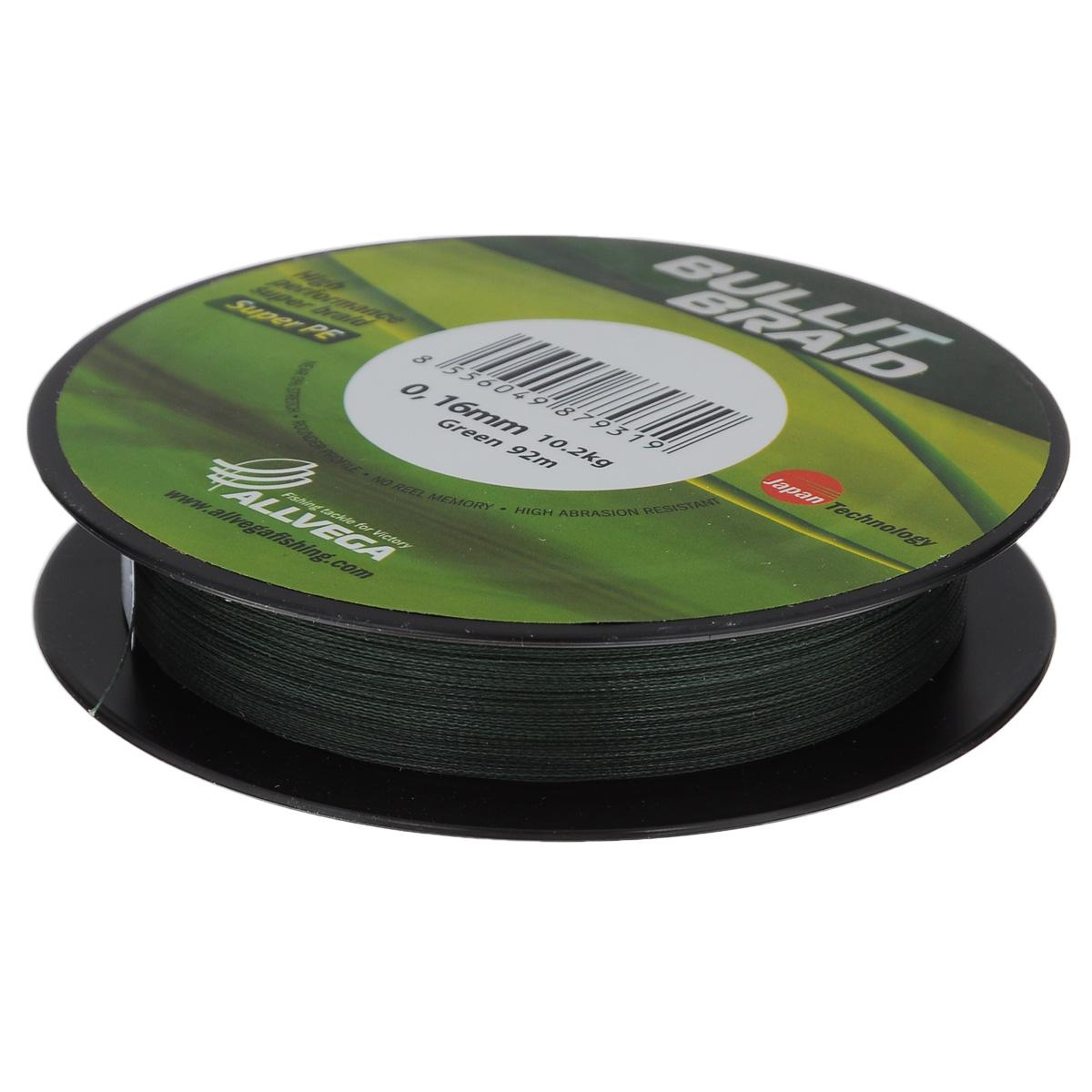 Леска плетеная Allvega Bullit Braid, цвет: темно-зеленый, 92 м, 0,16 мм, 10,2 кг