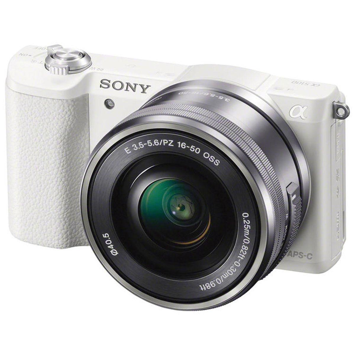 Sony Alpha A5100 Kit 16-50mm E PZ, White цифровая фотокамераILCE5100LW.CECSony Alpha A5100 - цифровая фотокамера со сменной оптикой для профессиональных результатов.Быстрый гибридный автофокус обеспечивает невероятную четкость и контрастность изображений и видео — вы не упустите ни одного кадра. Технология 4D FOCUS обеспечивает непревзойденную работу системы автофокуса в четырех измерениях: широкая зона охвата (2 измерения по горизонтали и вертикали), скорость работы автофокуса (3-е измерение, глубина) и следящий автофокус с упреждением (4-е измерение, время). Эта компактная камера с несколькими режимами автофокуса позволяет всегда получать потрясающие снимки. Следите за движущимися объектами, настраивайте размер кадра и получайте невероятно точную фокусировку.Совершенная матрица Exmor APS-C CMOS и усовершенствованный процессор изображений BIONZ XРазмещение интегральных линз без зазоров оптимизирует светосилу и минимальный уровень шума. Улучшенный процессор использует алгоритм понижения шума для фотографий при слабом освещении, с более естественными цветами и детализацией. Вам также доступна расширенная чувствительность для создания естественных фотографий при слабом освещении или в помещении без использования вспышки. Снимайте такие же потрясающие видео на A5100. Быстрый следящий автофокус, размытый задний план и звук высокого качества прилагаются.Поддержка Wi-Fi и NFC упрощает процесс передачи фотографий и видео на телевизор с поддержкой NFC, а также на телефоны и планшеты Android — никакой сложной установки не потребуется. Выбирайте десятки уникальных приложений для съемки, обработки и передачи фотографий — от Smart Remote Control до Direct Upload.Формат кадра: 3:2, 16:9