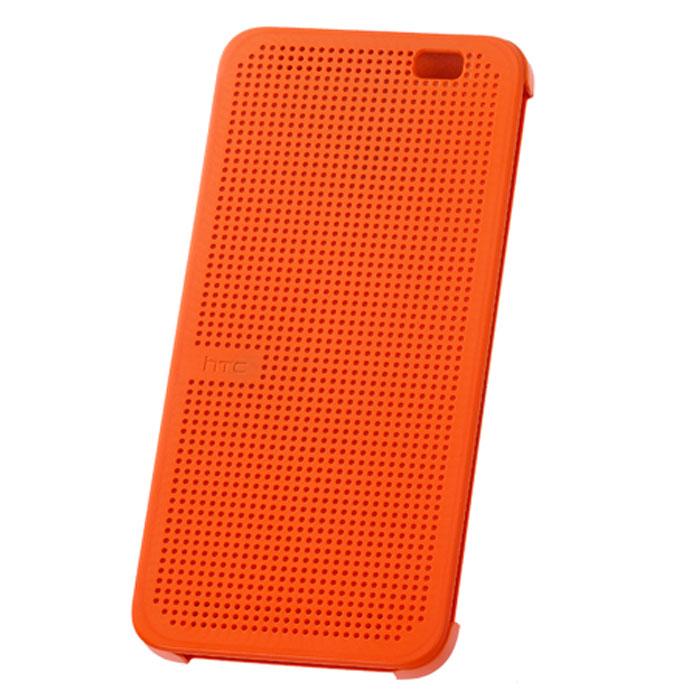 HTC HC M110 Dot Case чехол для One E8, Orange99H11640-00HTC HC M110 - фирменный чехол-раскладушка - позволяет пользователю взаимодействовать с телефоном, не открывая крышку аксессуара.Лицевая сторона чехла выполнена из перфорированного пластика, сквозь отверстия которого хорошо просматривается информация на главном экране. При надетом чехле смартфон распознает аксессуар и включает специальный режим отображения данных.Чехол позволяет принимать звонки, получать уведомления о входящих звонках и сообщениях, состоянии аккумулятора. Двойным постукиванием по поверхности HTC Dot View включается Motion Launch и позволяет включить и выключить индикацию времени и погоды. Если провести по чехлу сверху вниз, активируется голосовой поиск.
