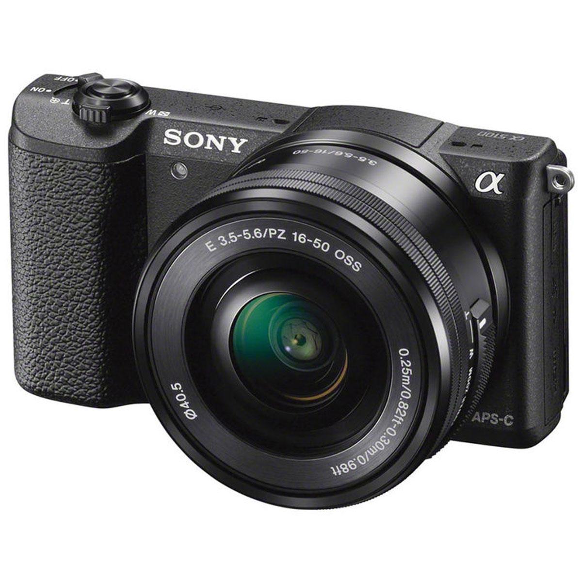 Sony Alpha A5100 Kit 16-50mm E PZ, Black цифровая фотокамераILCE5100LB.CECSony Alpha A5100 - цифровая фотокамера со сменной оптикой для профессиональных результатов.Быстрый гибридный автофокус обеспечивает невероятную четкость и контрастность изображений и видео — выне упустите ни одного кадра. Технология 4D FOCUS обеспечивает непревзойденную работу системы автофокусав четырех измерениях: широкая зона охвата (2 измерения по горизонтали и вертикали), скорость работыавтофокуса (3-е измерение, глубина) и следящий автофокус с упреждением (4-е измерение, время). Этакомпактная камера с несколькими режимами автофокуса позволяет всегда получать потрясающие снимки.Следите за движущимися объектами, настраивайте размер кадра и получайте невероятно точную фокусировку.Совершенная матрица Exmor APS-C CMOS и усовершенствованный процессор изображений BIONZ XРазмещение интегральных линз без зазоров оптимизирует светосилу и минимальный уровень шума. Улучшенныйпроцессор использует алгоритм понижения шума для фотографий при слабом освещении, с более естественнымицветами и детализацией. Вам также доступна расширенная чувствительность для создания естественныхфотографий при слабом освещении или в помещении без использования вспышки. Снимайте такие жепотрясающие видео на A5100. Быстрый следящий автофокус, размытый задний план и звук высокого качестваприлагаются.Поддержка Wi-Fi и NFC упрощает процесс передачи фотографий и видео на телевизор с поддержкой NFC, а такжена телефоны и планшеты Android — никакой сложной установки не потребуется. Выбирайте десятки уникальныхприложений для съемки, обработки и передачи фотографий — от Smart Remote Control до Direct Upload.Формат кадра: 3:2, 16:9