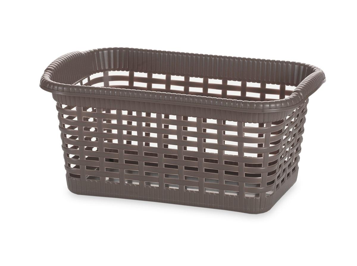Корзина хозяйственная Gensini, цвет: коричневый, 29 x 18,5 x 13,5 см3301Универсальная корзина Gensini, выполненная из пластика, предназначена для хранения мелочей в ванной, на кухне, даче или гараже. Позволяет хранить мелкие вещи, исключая возможность их потери. Легкая корзина выполнена под плетенку и оснащена жесткой кромкой. Дно сплошное, а стенки имеют перфорацию.