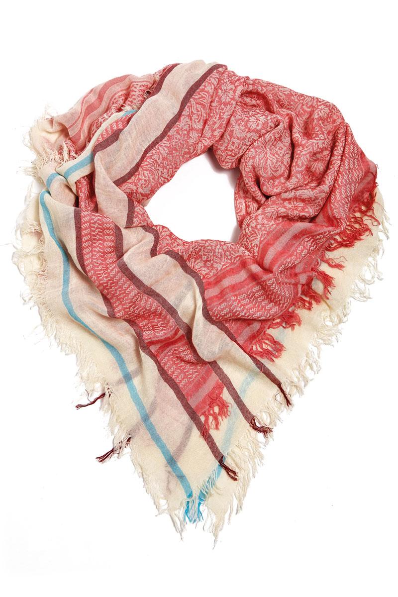 Платок женский Moltini, цвет: розовый, бежевый, голубой. 21002-04S. Размер 130 см х 130 см  - купить со скидкой