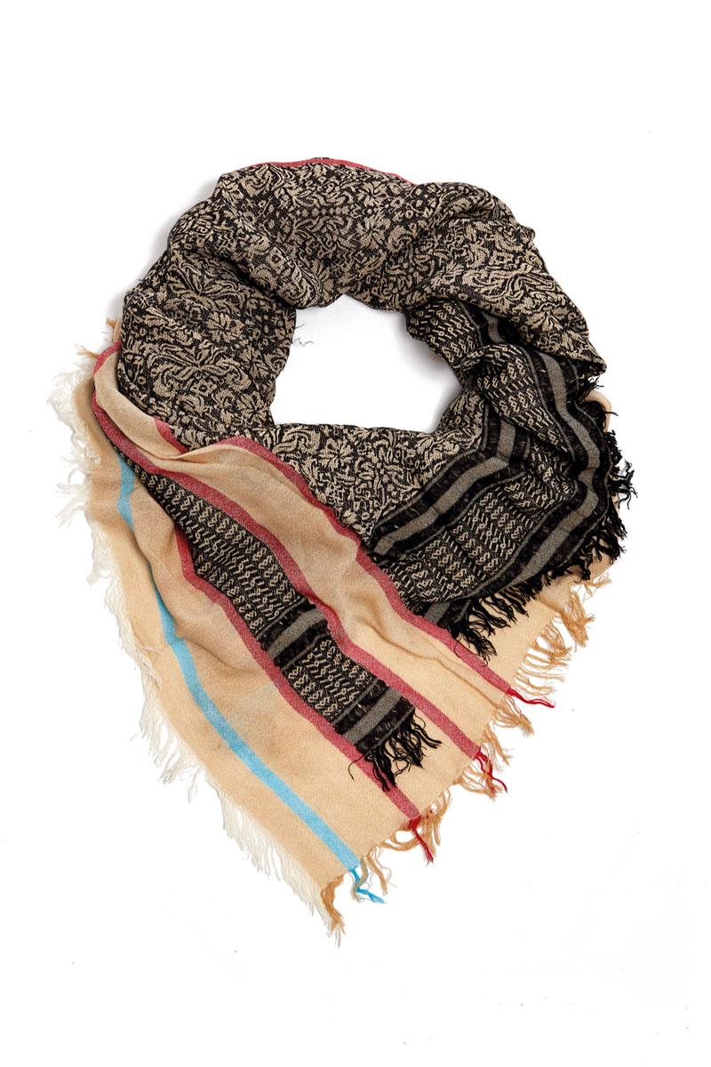 Платок женский Moltini, цвет: черный, бежевый, красный, голубой. 21002-04K. Размер 130 см х 130 см