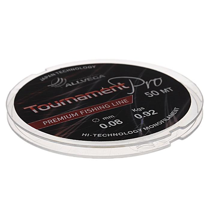 Леска Allvega Tournament Pro, цвет: прозрачный, 50 м, 0,08 мм, 0,92 кг36150Высокотехнологичная японская леска Allvega Tournament Pro. Отличные характеристики позволяют использовать эту леску на соревнованиях международного уровня. Используется там, где необходима высокая прочность и надежность. Рекомендуется для изготовления поплавочных оснасток и поводков. Прекрасно подойдет для зимней рыбалки.