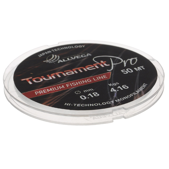 Леска Allvega Tournament Pro, цвет: прозрачный, 50 м, 0,18 мм, 4,16 кг