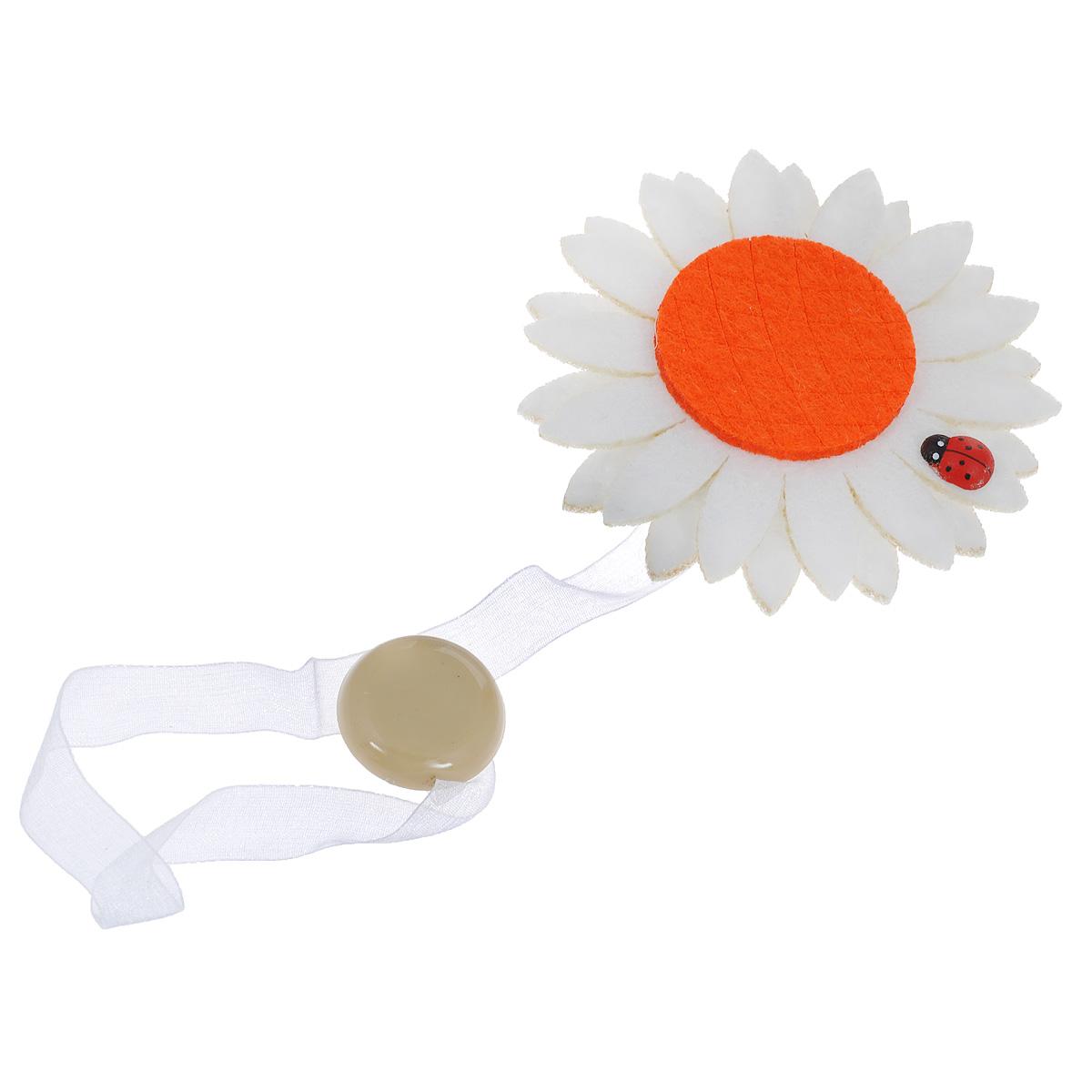 Клипса-магнит для штор Calamita Fiore, цвет: отбеленный, оранжевый. 7704012_5027704012_502Клипса-магнит Calamita Fiore, изготовленная из пластика и текстиля, предназначена для придания формы шторам. Изделие представляет собой два магнита, расположенных на разных концах текстильной ленты. Один из магнитов оформлен декоративным цветком. С помощью такой магнитной клипсы можно зафиксировать портьеры, придать им требуемое положение, сделать складки симметричными или приблизить портьеры, скрепить их. Клипсы для штор являются универсальным изделием, которое превосходно подойдет как для штор в детской комнате, так и для штор в гостиной. Следует отметить, что клипсы для штор выполняют не только практическую функцию, но также являются одной из основных деталей декора этого изделия, которая придает шторам восхитительный, стильный внешний вид.Диаметр декоративного цветка: 9 см.Диаметр магнита: 2,5 см.Длина ленты: 28 см.
