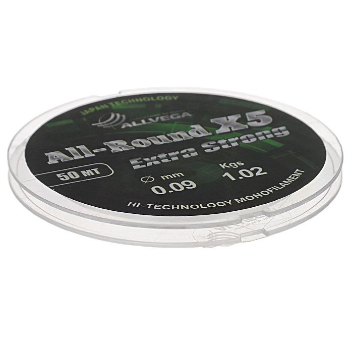 Леска Allvega All-Round X5, цвет: прозрачный, 50 м, 0,09 мм, 1,02 кг