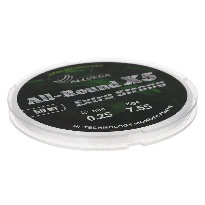 Леска Allvega All-Round X5, цвет: прозрачный, 50 м, 0,25 мм, 7,55 кг