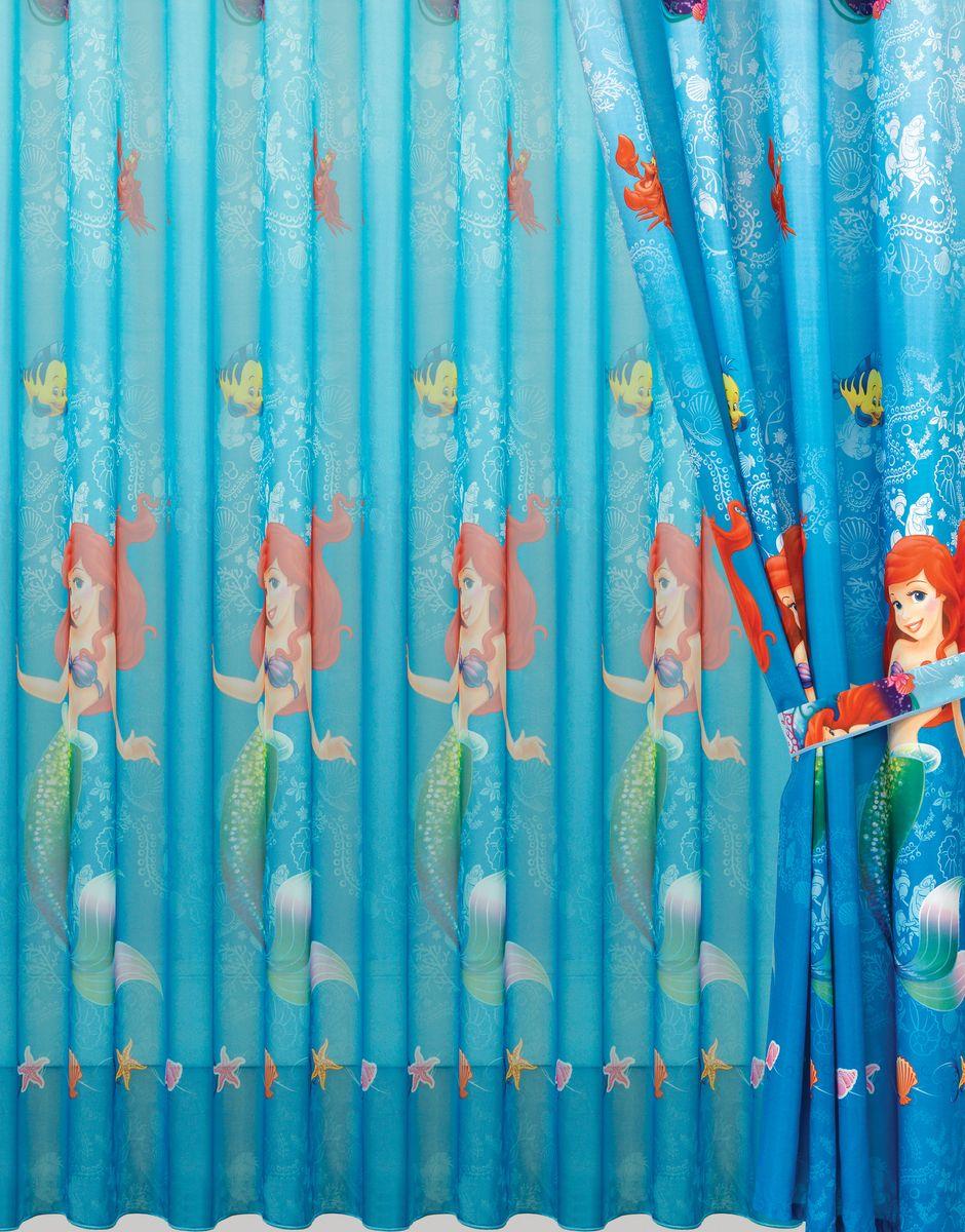 Комплект штор Mona Liza Русалочка, цвет: синий, высота 265 см500750/3Полотно на люверсах Mona Liza Русалочка станет достойным украшением комнаты маленькой принцессы. Яркое изображение любимой героини мультфильма не оставит равнодушным вашего ребенка и будет идеальным дополнением интерьера детской комнаты.В комплект входит: Штора - 2 шт. Размер (Ш х В): 150 см х 265 см. Тюль - 1 шт. Размер (Ш х В): 300 см х 265 см.Внутренний диаметр люверс 4 см.Комплект штор выполнен из полиэстера.