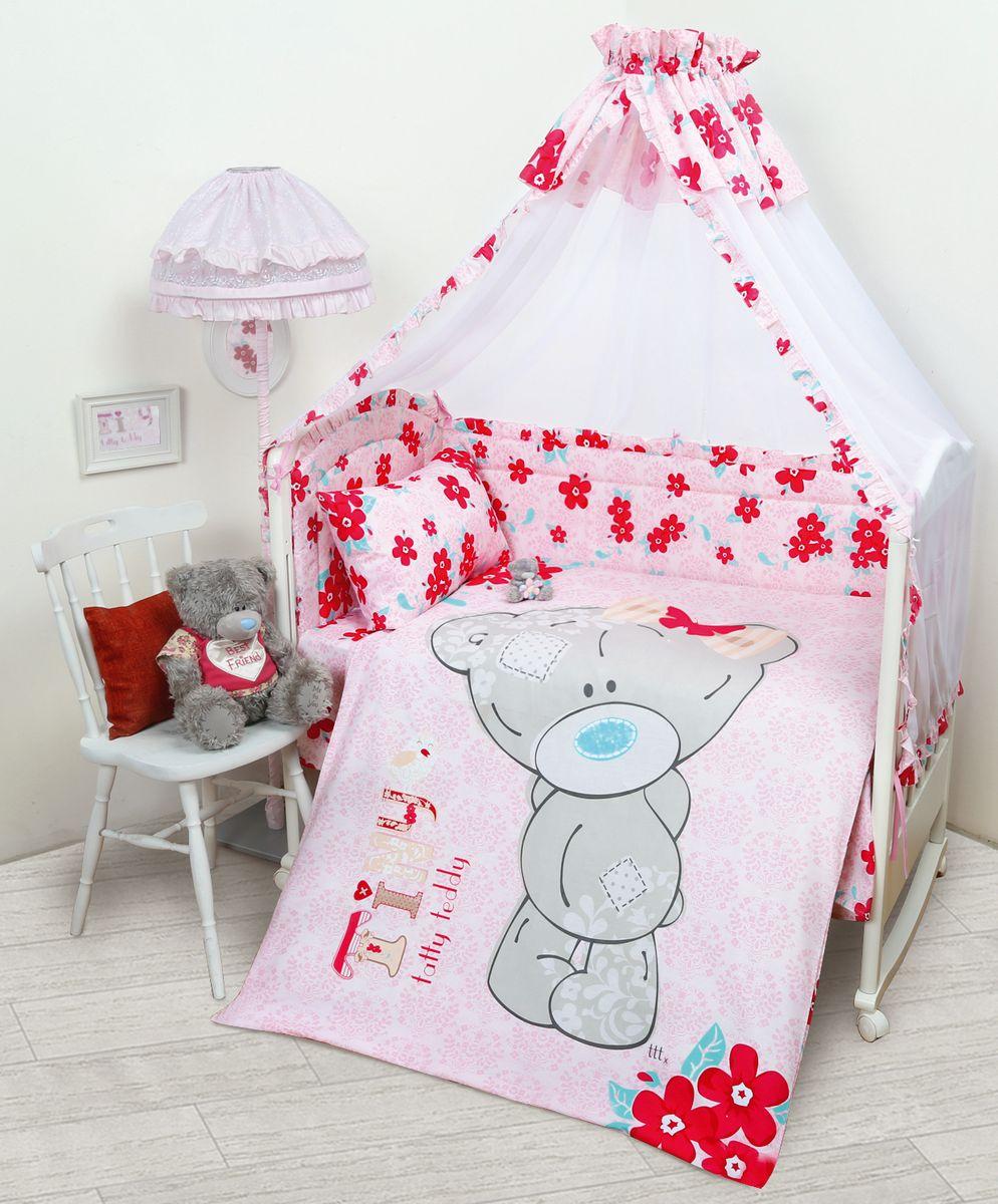 Комплект в кроватку Mona Liza Me To You Taddy Baby, цвет: розовый, 7 предметов521204Комплект в кроватку Mona Liza Me To You Taddy Baby прекрасно подойдет для кроватки вашего малыша, добавит комнате уюта и согреет в прохладные дни.В качестве материала верха использован натуральный хлопок, мягкая ткань не раздражает чувствительную и нежную кожу ребенка и хорошо вентилируется.Бортик, подушка и одеяло наполнены 100% полиэфиром. Балдахин выполнен из 100% полиэфира с отделкой 100% хлопка. Комплект состоит из: бортиков 40 см х 60 см - 2 шт, 40 см х 120 см - 2 шт, балдахина 150 см х 300 см,плоской подушки 40 см х 60 см,зимнего одеяла 105 см х 140 см,пододеяльника 110 см х 145 см,наволочки 40 см х 60 см,простыни 100 см х 145 см.Элементы комплекта выполнены из 100% хлопка и оформлены аппликацией в виде очаровательного медвежонка Teddy.Очень важно, чтобы ваш малыш хорошо спал - это залог его здоровья, а значит вашего спокойствия. Согласно рекомендациям детских врачей, лучше всего приобретать изделия только с натуральными наполнителями. Они обеспечивают идеальный термо- и гидробаланс сна вашему малышу.