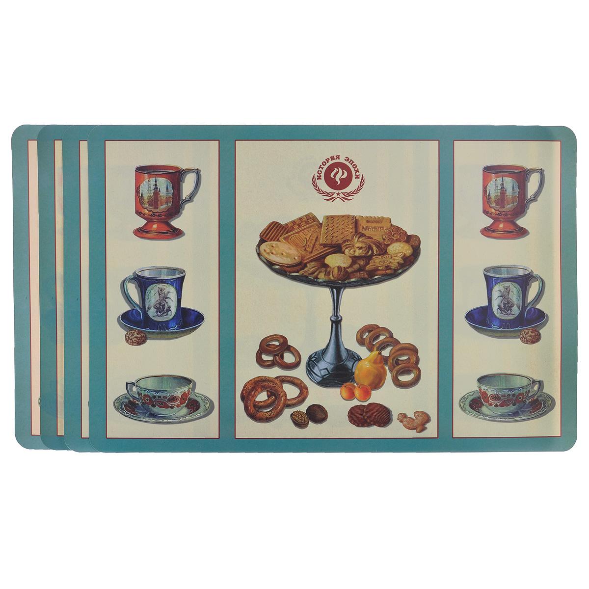 Набор подложек под столовые приборы Феникс-презент Ретро-печенья, 45 х 30 см, 4 шт набор подложек под столовые приборы феникс презент чашка чая 45 см х 30 см 4 шт 37380