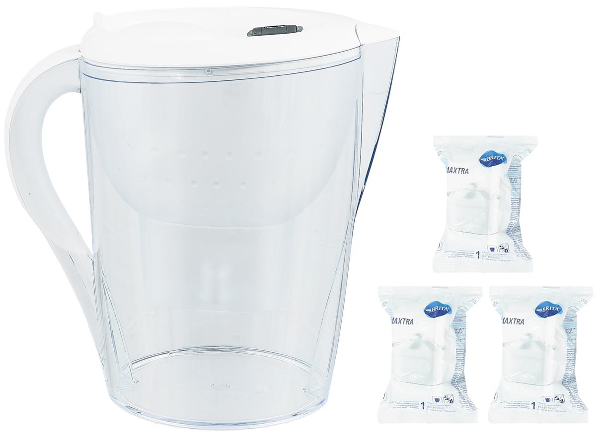 Фильтр-кувшин для воды Brita Marella XL, цвет: белый, 3 сменных картриджа, 3,5 л1010706Фильтр-кувшин Brita Marella XL, выполненный из пластика, станет необходимым помощником на вашей кухне. Вода, очищенная данным фильтром обладает рядом преимуществ:- улучшает вкус горячих и холодных напитков, - увеличивает срок службы бытовых приборов, препятствуя образованию накипи, - идеальна для приготовления вкусной и здоровой пищи, - придает более насыщенный вкус и аромат чаю и кофе. Технология картриджа Maxtra снижает содержание в воде таких веществ, как хлор, алюминий, тяжелые металлы (свинец и медь), некоторые пестициды и органические примеси. Также он отфильтровывает соли жесткости.Особенности данного фильтра: - только для Maxtra, - благодаря удобной функции (одним нажатием кнопки) заменить картридж очень просто, - откидная крышка в отверстии для заливки воды, - календарь: механический индикатор ресурса кассеты будет автоматически напоминать вам о необходимости заменить кассету через каждые 4 недели использования, - эргономичный дизайн, - фильтр можно мыть в посудомоечной машине (за исключением крышки).Фильтры Brita имеют уникальную систему очистки, которая помогает смягчить питьевую воду. Они предлагают идеальную возможность улучшить качество питьевой воды дома. Фильтры Brita снижают образование известкового налета. Инновации компании Brita подтверждаются значительным количеством патентов, в том числе и на международном уровне.Успех компании обуславливается постоянным расширением продуктовой линейки. Общий объем фильтра: 3,5 л.Полезный объем: 2 л.