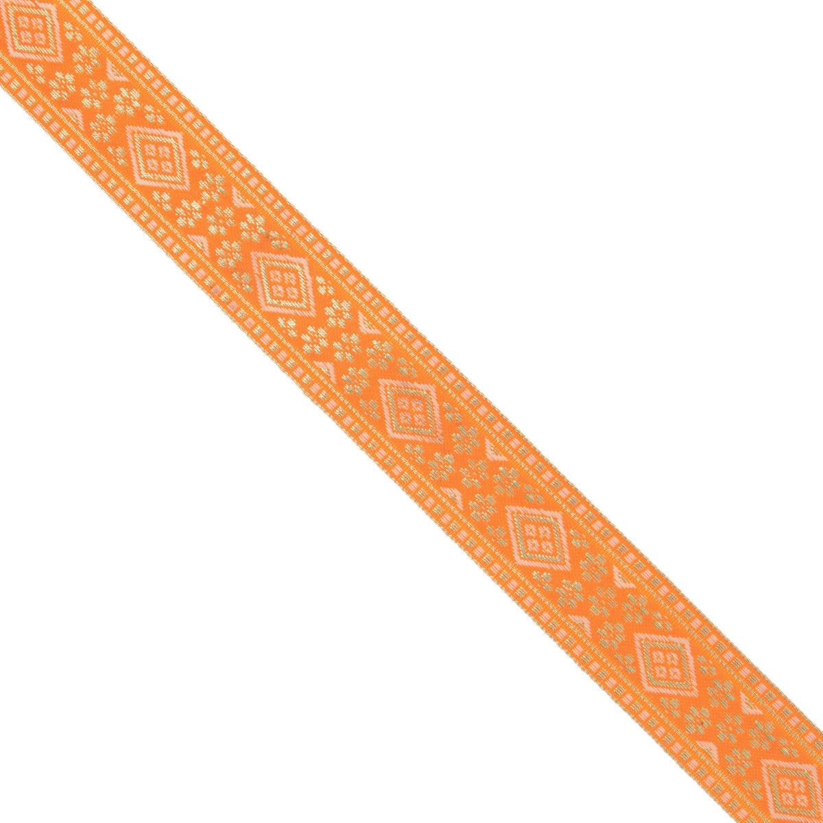 Тесьма декоративная Астра, цвет: оранжевый (А14), ширина 2,5 см, длина 16,4 м. 77033297703329_A14Декоративная тесьма Астра выполнена из текстиля и оформлена оригинальным орнаментом. Такая тесьма идеально подойдет для оформления различных творческих работ таких, как скрапбукинг, аппликация, декор коробок и открыток и многое другое. Тесьма наивысшего качества и практична в использовании. Она станет незаменимым элементом в создании рукотворного шедевра. Ширина: 2,5 см.Длина: 16,4 м.
