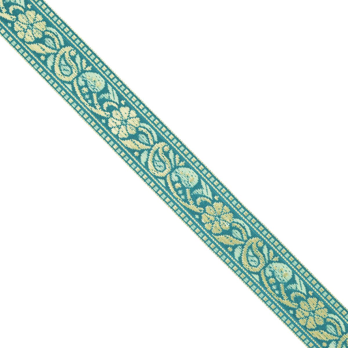 Тесьма декоративная Астра, цвет: бирюзовый (А13), ширина 2,5 см, длина 16,4 м. 77033267703326_A13Декоративная тесьма Астра выполнена из текстиля и оформлена оригинальным орнаментом. Такая тесьма идеально подойдет для оформления различных творческих работ таких, как скрапбукинг, аппликация, декор коробок и открыток и многое другое. Тесьма наивысшего качества и практична в использовании. Она станет незаменимым элементом в создании рукотворного шедевра. Ширина: 2,5 см.Длина: 16,4 м.