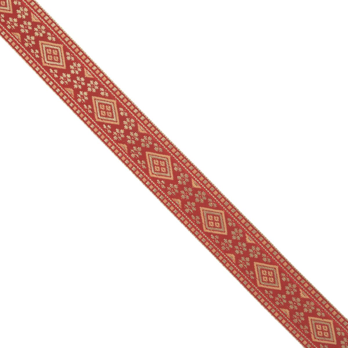 Тесьма декоративная Астра, цвет: красный (А17), ширина 2,5 см, длина 16,4 м. 77033297703329_А17Декоративная тесьма Астра выполнена из текстиля и оформлена оригинальным орнаментом. Такая тесьма идеально подойдет для оформления различных творческих работ таких, как скрапбукинг, аппликация, декор коробок и открыток и многое другое. Тесьма наивысшего качества и практична в использовании. Она станет незаменимым элементом в создании рукотворного шедевра. Ширина: 2,5 см.Длина: 16,4 м.