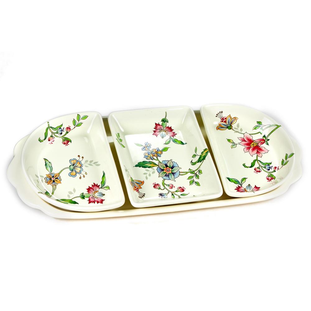 Менажница Nuova Cer Прованс, на подносе, 3 секцииPRV-7364Менажница Nuova Cer Прованс, изготовленная из глазурованной керамики, декорирована изображением цветов. Изделие представляет собой 3 отдельных блюда, которые располагаются на подносе.Некоторые блюда можно подавать только в менажнице, чтобы не произошло смешение вкусовых оттенков гарниров. Также менажница может быть использована в качестве посуды для нескольких видов салатов или закусок. Благодаря оригинальному элегантному дизайну, менажница идеально впишется в интерьер вашей кухни и станет достойным подарком для родных и друзей.Количество секций: 3.
