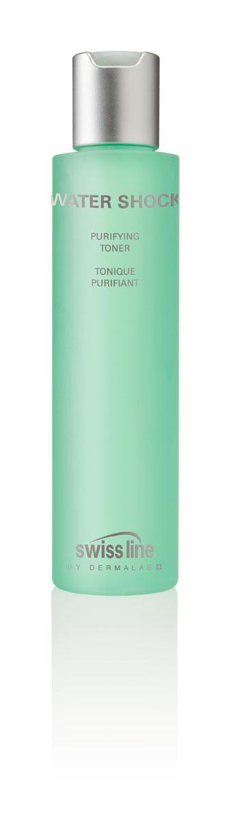 Swiss Line Water Shock Очищающий тоник для лица для комбинированной и жирной кожи, 160 мл1704Безалкогольный тоник с вяжущим эффектом завершает процедуру очищения кожи и подготавливает её к дальнейшему уходу. Тоник адсорбирует избыток кожного жира, благодаря чему устраняет жирный блеск и матирует кожу. Способствует укреплению полезной микрофлоры и минимизирует высыпания.