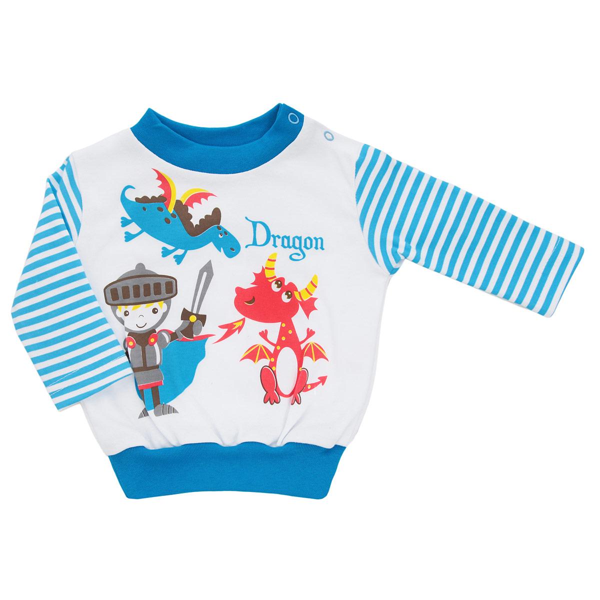 Кофточка для мальчика КотМарКот, цвет: белый, ярко-голубой. 3742. Размер 623742Кофточка для новорожденного мальчика КотМарКот послужит идеальным дополнением к гардеробу вашего малыша, обеспечивая ему наибольший комфорт. Кофточка с длинными рукавами и круглым вырезом горловины изготовлена из натурального хлопка - интерлока, благодаря чему она необычайно мягкая и легкая, не раздражает нежную кожу ребенка и хорошо вентилируется, а эластичные швы приятны телу младенца и не препятствуют его движениям. Удобные застежки-кнопки по плечу помогают легко переодеть младенца. Понизу проходит широкая трикотажная резинка. Вырез горловины дополнен трикотажной эластичной резинкой. Спереди модель оформлена оригинальным ненавязчивым принтом с изображением рыцаря и драконов. Рукава оформлены принтом в полоску. Кофточка полностью соответствует особенностям жизни ребенка в ранний период, не стесняя и не ограничивая его в движениях. В ней ваш малыш всегда будет в центре внимания.