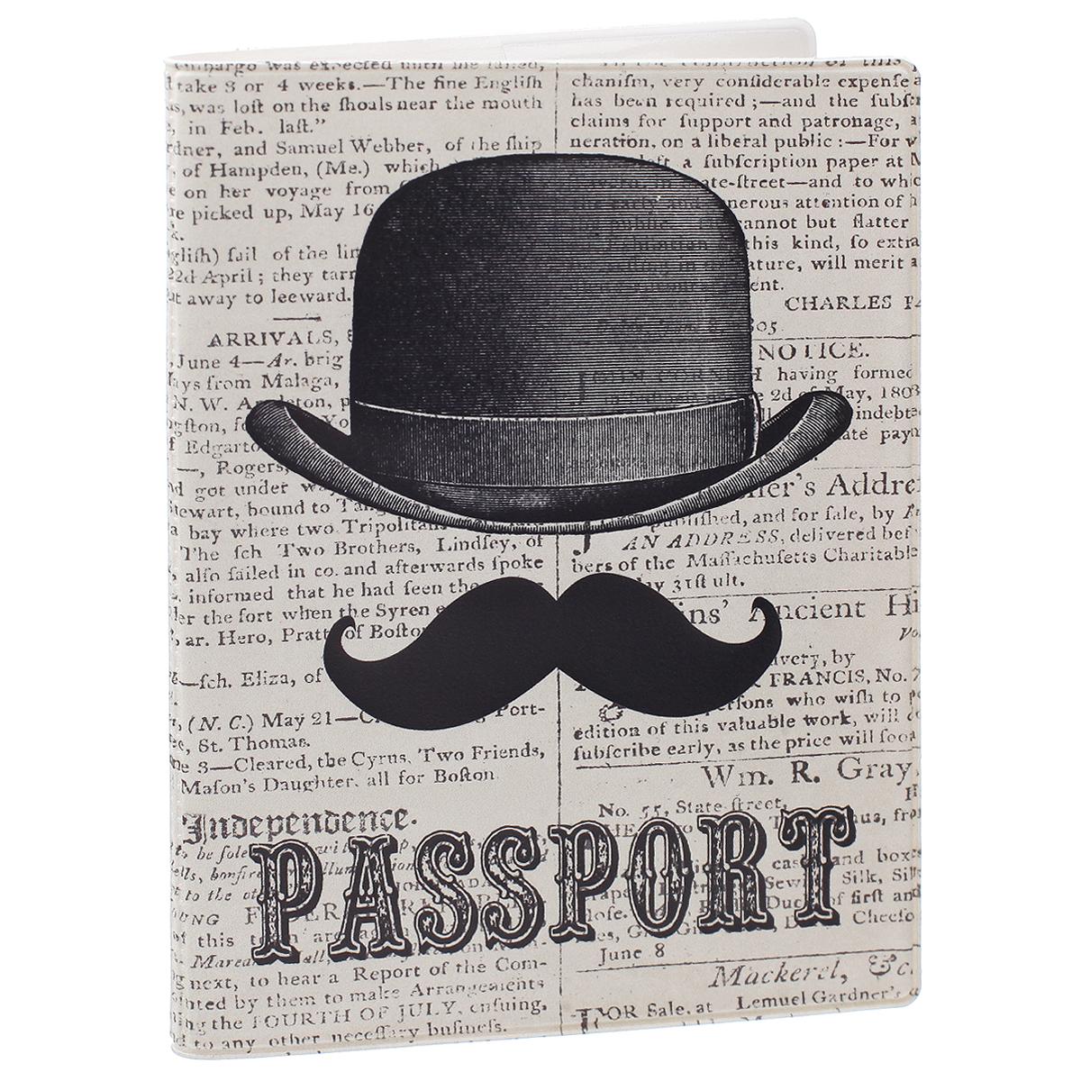 Обложка для паспорта Джентльмен, цвет: серый, черный. 35674ПВХ (поливинилхлорид)Обложка для паспорта Джентльмен не только поможет сохранить внешний вид ваших документов и защитить их от повреждений, но и станет стильным аксессуаром, идеально подходящим вашему образу. Обложка выполнена из поливинилхлорида и оформлена оригинальным изображением джентельменских усов и шляпы. Внутри имеет два вертикальных кармана из прозрачного пластика.Такая обложка поможет вам подчеркнуть свою индивидуальность и неповторимость!