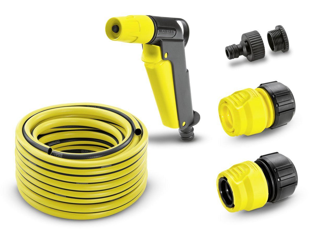 Шланг Karcher PrimoFlex, с соединителями, 1/2, 20 м. 2.645-115.02.645-115.0Комплект Karcher 2.645-115 предназначен специально для направленного полива растений на садовом участке и в огороде. В комплект входит: шланг PrimoFlex, пистолет для полива, штуцер для крана 3/4 с переходом на 1/2 и два коннектора, один из которых с аквастопом. Пистолет используется для орошения небольших по площади территорий. С помощью специального вентиля пистолета легко и просто регулировать струю: от точечной до аэрозольной. Имеет удобную рукоятку и крючок для подвешивания. Также его можно применять для чистки мебели и садового оборудования. Шланг PrimoFlex предназначен для подведения воды к месту полива. Он армирован специальным материалом, выдерживающим давление до 24 бар, устойчив к УФ-излучению и температурам до +65°С. Прочен, безопасен, внутри содержит светонепроницаемый слой. Штуцер предназначен для присоединения шланга к крану. Изготовлен из высококачественного материала. Для удобства использования имеет переходник, если диаметр резьбы будет не соответствовать резьбе крана. Коннектор предназначен для крепления шлангов диаметрами 1/2, 5/8, 3/4 к другим элементам системы полива. Крепежная часть, изготовленная из анодированного алюминия, прочна и надежна. Один из коннекторов имеет функцию аквастоп, что гарантирует надежную защиту от вытекания воды. При разъединении коннектора с распылителем или другим приспособлением автоматически прекращается подача воды. Набор имеет длительный срок эксплуатации. Содержит все необходимое для полива участка начинающего садовода.
