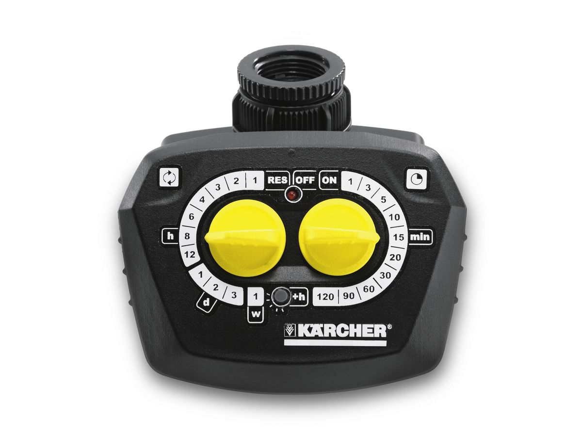 Поливочный таймер Karcher WT4000 предназначен для контроля за системой орошения. Он  прочно присоединяется к крану штуцером с латунной резьбой G1 и G3/4. На входе есть фильтр,  защищающий от попадания взвесей. Максимальная продолжительность полива 120 мин.  Таймер оснащен заданием времени включения и контрольным световым сигнализатором. Теперь  не обязательно находиться на даче или в саду для того, чтобы осуществлять уход за газоном или  грядками, что значительно экономит время, потраченное на дорогу и на сам поливочный процесс.  Для безопасности устройства можно снять цифровой дисплей. Есть возможность ручного полива.  Работает от батареи 9В, которой хватит на целый год, а для своевременной замены батареи  имеется датчик, показывающий степень заряженности. Батарейка в комплект не входит.   Максимальная продолжительность полива: 120 мин.   Тип таймера: электронно-механический.