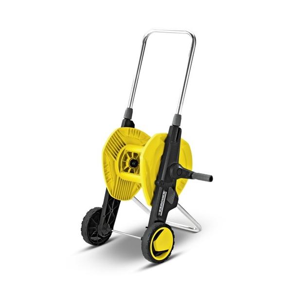 Тележка для шланга Karcher HT 3.420 2.645-180.02.645-180.0Тележка Karcher HT 3.400 имеет складную конструкцию и регулируемую по высоте ручку. Большие профилированные колеса позволяют легко обходить препятствия. Специальный фиксатор надежно удерживает шланг. Максимальная длина шланга: 1/2 - 40 м, 5/8 - 30 м, 3/4 - 20 м.Размер тележки (в сложенном виде): 47 см х 32 см х 38 см.Высота ручки тележки (максимальная): 38 см.
