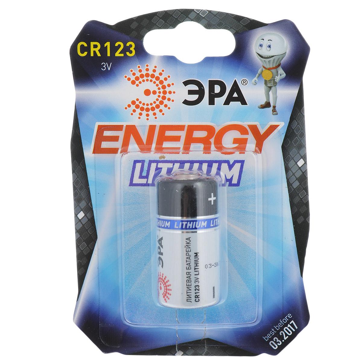 Батарейка литиевая ЭРА Energy, тип CR123 (1BL), 3В5055398612668Литиевые батарейки ЭРА Energy оптимально подходят для повседневного питания множества современных бытовых приборов: электронных игрушек, фонарей, беспроводной компьютерной периферии и многого другого. Батарейки созданы для устройств с высоким потреблением энергии. Работают в 10 раз дольше, чем обычные солевые элементы питания. Размер батарейки: 1,6 см х 3,3 см.