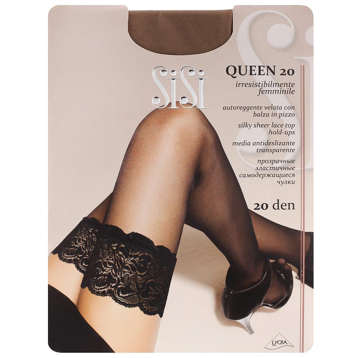 Чулки женские Sisi Queen 20, цвет: загар. SSP-001876. Размер 4Sisi queen 20 (чулки)Тонкие прозрачные чулки Sisi Queen 20 с фиксирующей резинкой на силиконовой основе и незаметным усиленным носком.