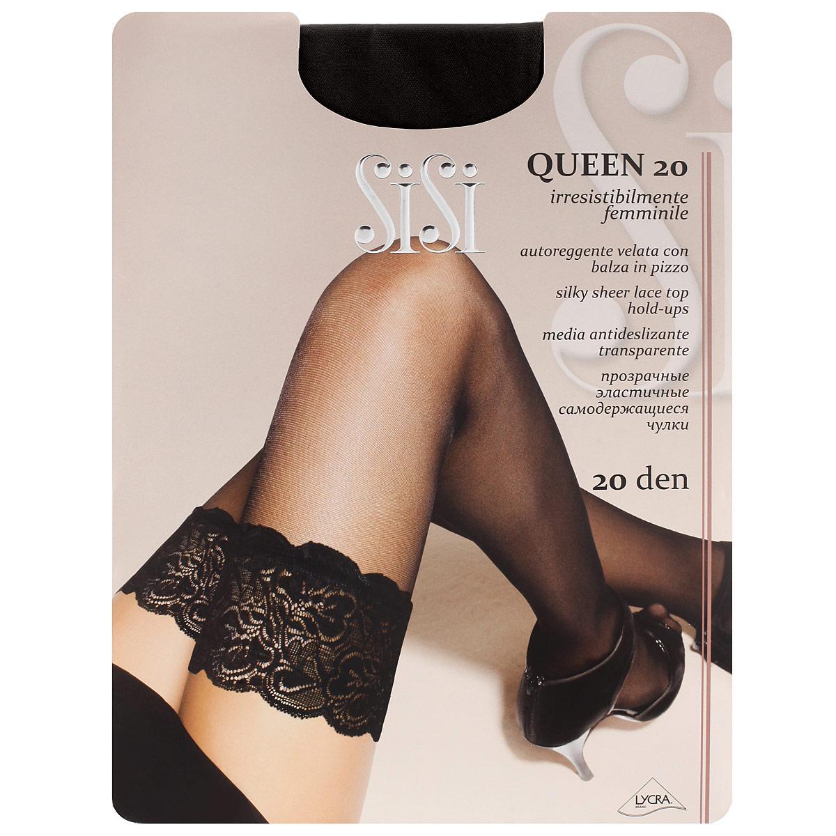 Чулки женские Sisi Queen 20, цвет: черный. SSP-001827. Размер 2Queen 20_NeroТонкие прозрачные чулки Sisi Queen 20 с фиксирующей резинкой на силиконовой основе и незаметным усиленным носком.