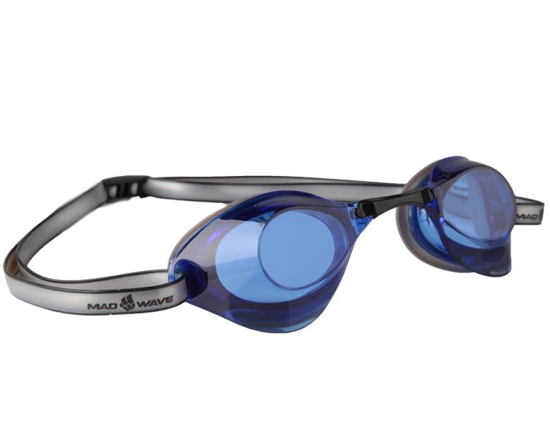 Очки для плавания стартовые MadWave Turbo Racer II, цвет: серый, синий очки для плавания madwave madwave ma991dubeg95