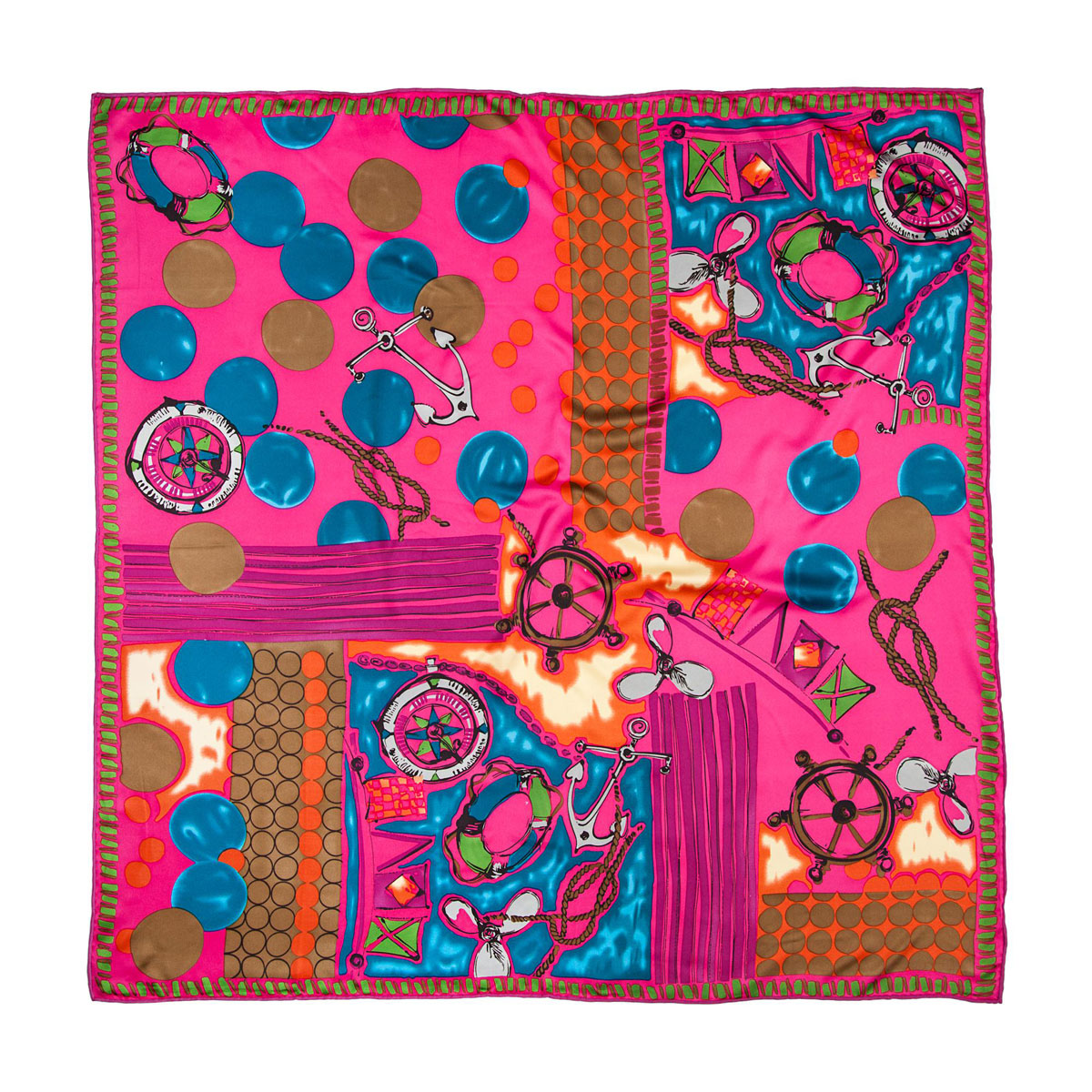 Платок женский Модные истории, цвет: розовый, голубой, оранжевый. 23/0246/117. Размер 90 см x 90 см платок 90 90 см foulard de luxe цвет мультиколор