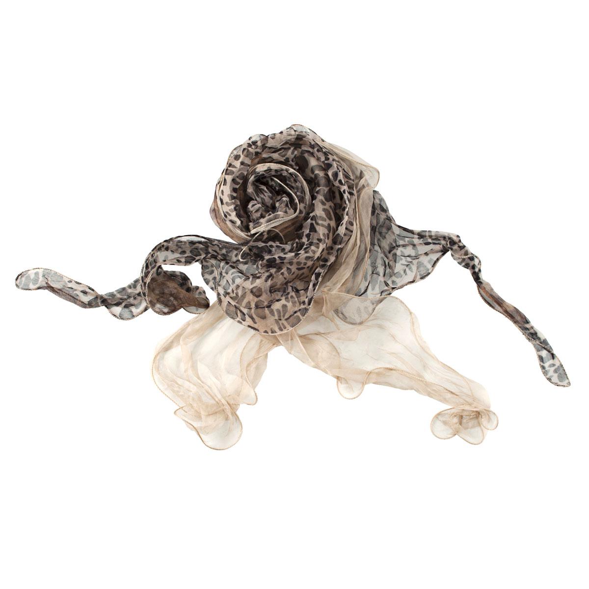 Шарф женский Модные истории, цвет: коричневый, черный. 21/0044/615. Размер 170 см x 40 см воротники модные истории шарф воротник