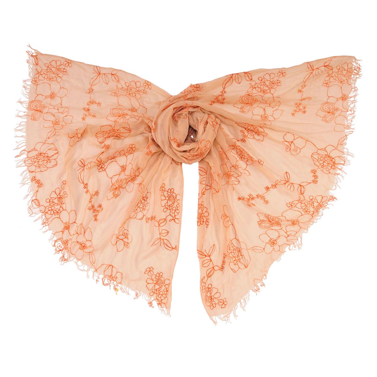 Палантин Модные истории, цвет: бежевый, оранжевый. 21/0233/006. Размер 200 см x 120 см