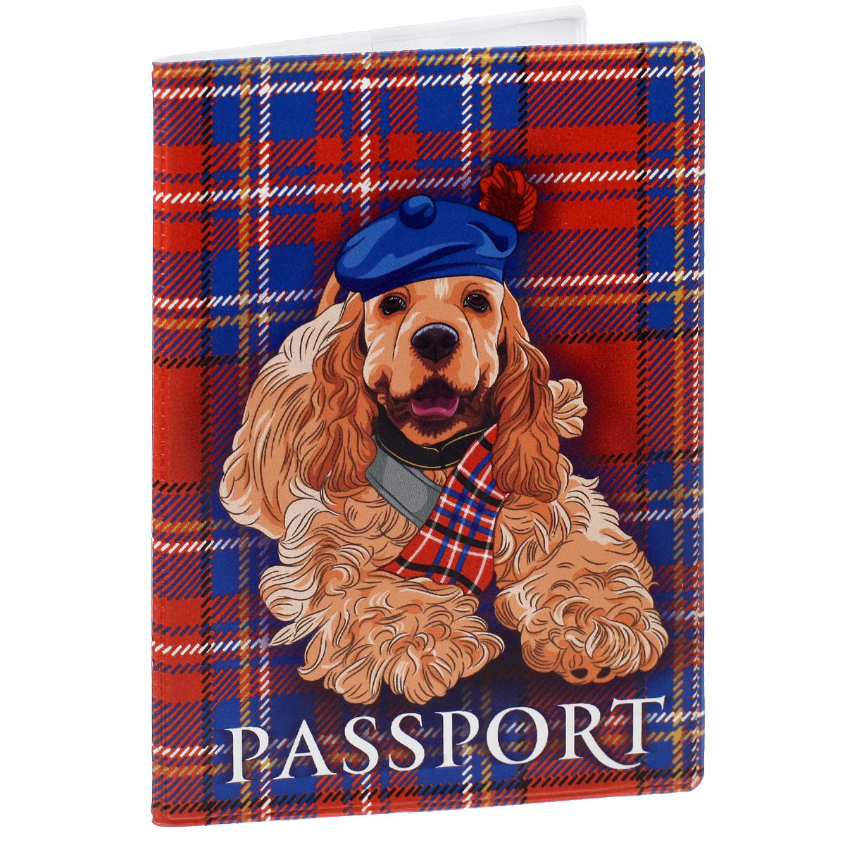 Обложка для паспорта Спаниель, цвет: бронзовый, красный, синий. 3566635666Обложка для паспорта Спаниель не только поможет сохранить внешний вид ваших документов и защитить их от повреждений, но и станет стильным аксессуаром, идеально подходящим вашему образу. Обложка выполнена из поливинилхлорида и оформлена оригинальным изображением спаниеля. Внутри имеет два вертикальных кармана из прозрачного пластика. Такая обложка поможет вам подчеркнуть свою индивидуальность и неповторимость!