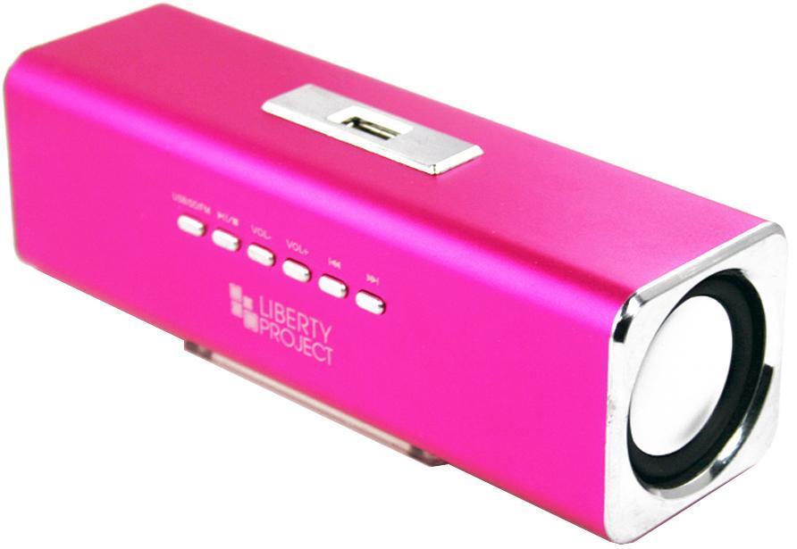 Liberty Project K-101, Pink портативная колонкаCD124410Liberty Project K-101 - это компактная портативная акустическая система, совместимая с большинством аудиоустройств. Небольшие размеры и встроенный аккумулятор дают возможность использовать колонки в мобильном режиме, в любом месте, где нет электричества. Скромные с виду динамики обеспечивают вполне серьезную громкость и с легкостью озвучивают небольшое помещение или место пикника, отдыха. Для подключения можно использовать стандартный аудиоразъем 3.5 мм. Liberty Project K-101 - прекрасное решение для всех, кто хочет слушать любимую музыку в компании и не зависеть от розетки. Кроме того, у данной модели акустики есть возможность воспроизводить аудиофайлы непосредственно с карты памяти или обычной USB-флешки.