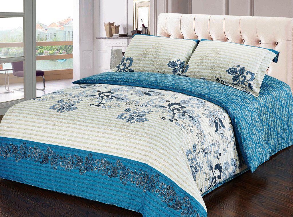 Комплект белья Soft Line, 2-спальный, наволочки 50х70, цвет: белый, голубой. 1019910199Комплект белья Soft Line, выполненный из сатина (100% хлопок), состоит из пододеяльника, простыни и двух наволочек. Изделия оформлены ярким принтом. Постельное белье из сатина очень прочное и долговечное. Такой комплект выдержит многократное количество стирок, а яркие цвета не начнут тускнеть очень продолжительное время. Сатин практически не мнется, не электризуется, великолепно впитывает влагу и отлично вентилируется.