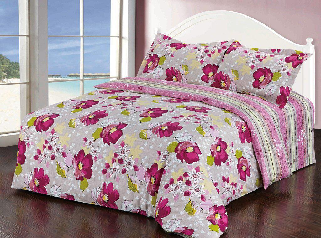 Комплект белья Soft Line, 2-спальный, наволочки 50х70, цвет: белый, розовый. 10303