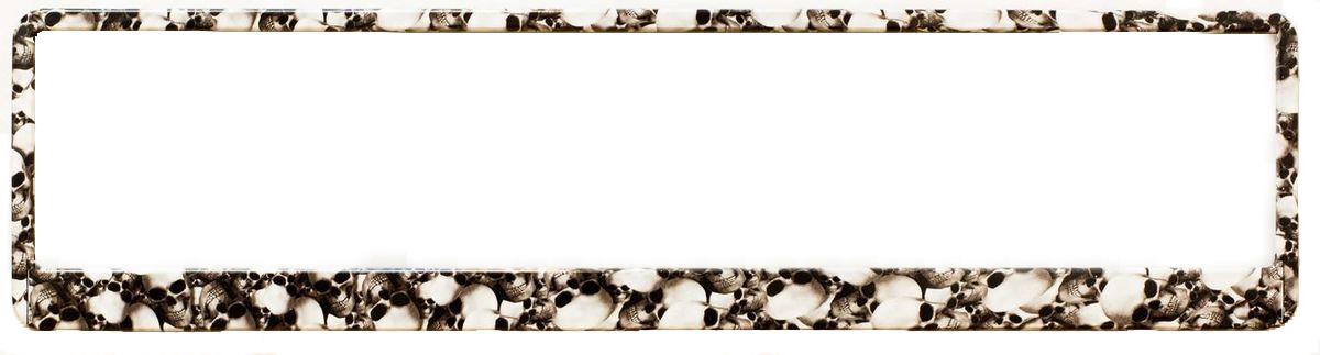 Рамка под номер Черепа. З0000014147З0000014147Рамка Черепа не только закрепит регистрационный знак на вашем автомобиле, но и красиво его оформит. Основание рамки выполнено из полипропилена, материал лицевой панели - пластик.Она предназначена для крепления регистрационного знака российского и европейского образца, декорирована изображением. Устанавливается на все типы автомобилей. Крепления в комплект не входят.Стильный дизайн идеально впишется в экстерьер вашего автомобиля.Размер рамки: 53,5 см х 13,5 см. Размер регистрационного знака: 52,5 см х 11,5 см.