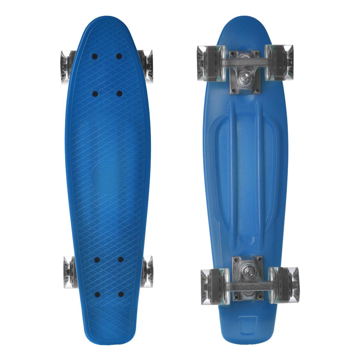 Скейтборд пластиковый Larsen, цвет: синий, 55 см х 15 см. BKA0020E333752Пенни борд Larsen подходит для начинающих райдеров и предназначен для уличного катания. Пенни борд имеет специальный выпуклый рисунок в виде сетки, предотвращающий скольжение.Дека выполнена из высококачественного пластика. Подвеска - из прочного алюминия.Высота скейтборда от пола - 10 см. Максимальный вес пользователя - 100 кг. Полиуретановые колеса обеспечивают хорошее сцепление с поверхностью, быстрый разгон и торможение.В последнее время экстремальные виды спорта, такие как катание на скейтборде, становятся очень популярными. Скейтбординг - это зрелищный и экстремальный вид спорта, представляющий собой катание на роликовой доске с преодолением препятствий и выполнением различных трюков.