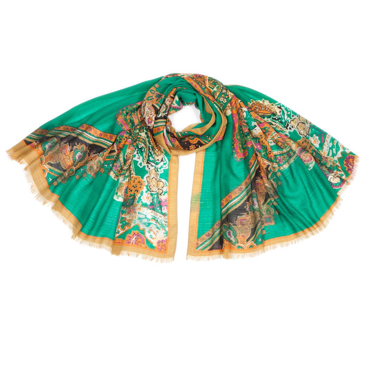 Палантин Модные истории, цвет: светло-коричневый, зеленый, розовый. 21/0358/219. Размер 180 см x 95 см