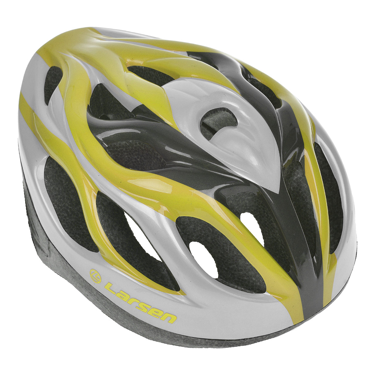 Шлем роликовый Larsen H3BW, цвет: желтый, серебристый. Размер L (54-57 см)286909Надежный роликовый шлем Larsen H3BW сделает ваш активный отдых безопасным.Шлем выполнен из прочного пластика и отлично защищает от травм. Внутренняя сторона шлема оснащена мягкими текстильными накладками, которые обеспечивают надежное прилегание шлема и комфорт при использовании. Шлем имеет систему систему вентиляции. Он отлично сядет по голове, благодаря регулируемым ремешкам и практичному механическому регулятору.Роликовый шлем станет незаменимым дополнением для полноценного летнего отдыха и занятия активными видами спорта.