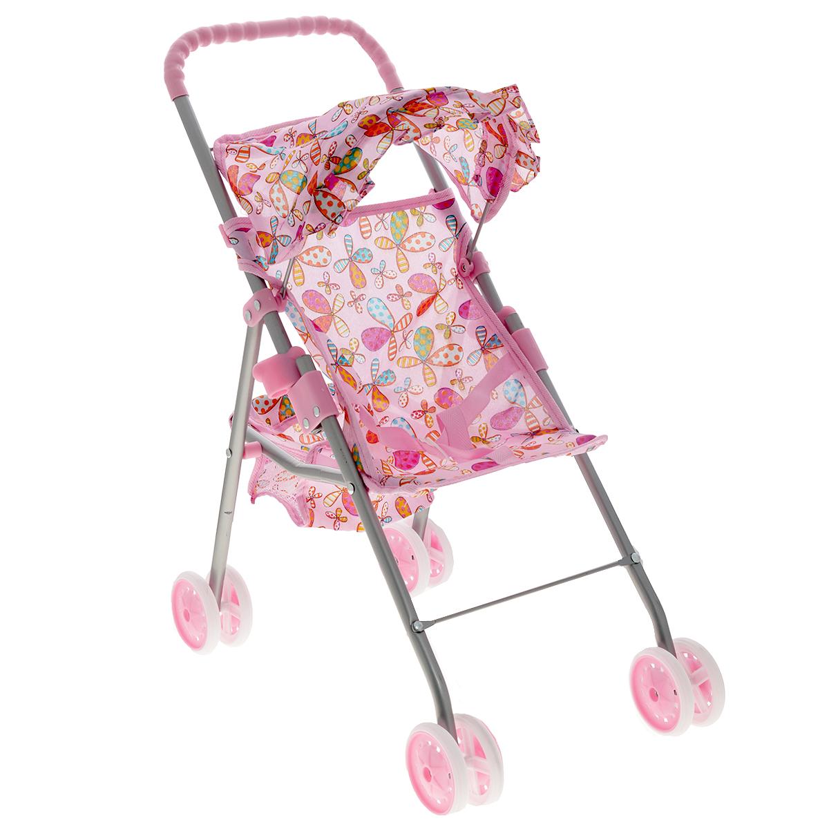 "Прогулочная коляска для кукол ""Melobo"", цвет: розовый с цветочками"