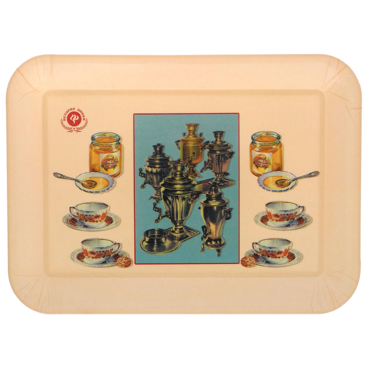 Поднос Феникс-презент Самовары, 35,5 х 25,5 см37404Поднос Феникс-презент Самовары изготовлен из полипропилена. Внутри поднос оформлен рисунком с изображением самоваров, чашек и баночек с медом. Поднос может использоваться как для сервировки, так и для декора кухни. Он прекрасно дополнит интерьер и добавит в обычную обстановку нотки романтики и изящества. Размер подноса: 35,5 см х 25,5 см х 2,3 см. Внутренний размер подноса: 29 см х 19 см х 1,9 см.